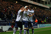 Preston North End celebrate during the Sky Bet Championship match between Preston North End and Fulham at Deepdale, Preston, England on 5 April 2016. Photo by Pete Burns.