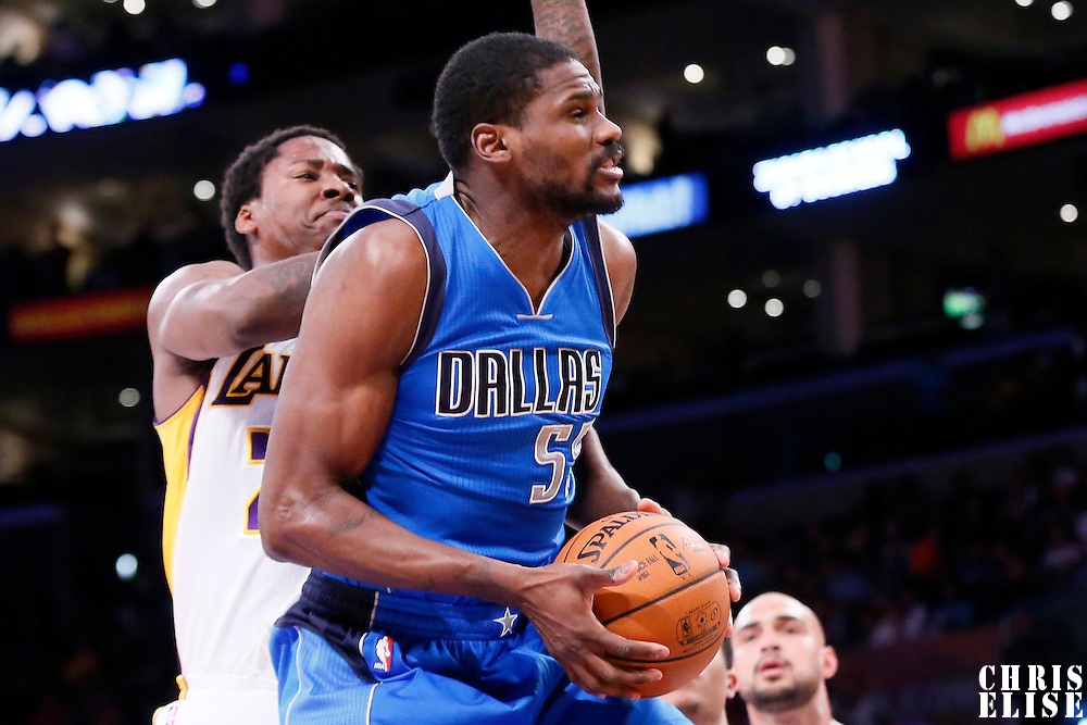 12 April 2014: Dallas Mavericks center Bernard James (55) goes for the layup during the Dallas Mavericks 120-106 victory over the Los Angeles Lakers, at the Staples Center, Los Angeles, California, USA.