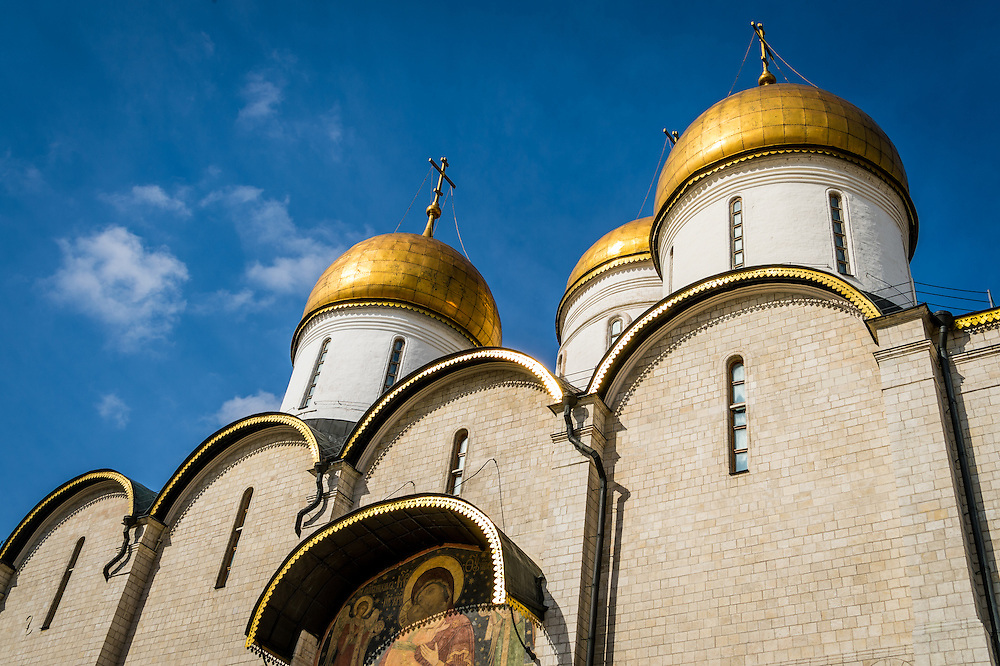 Detail view of the The Assumption Cathedral in the Moscow Kremlin