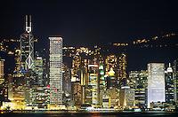 Hong Kong skyline and Kowloon bay at night, Kowloon, Hong Kong, China.