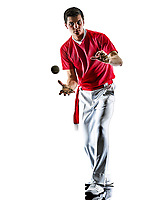 one caucasian Jai alai Basque pelota <br /> Cesta Punta player man isolated on white background silhouette