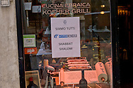 Rome, Italy. 8th January 2016<br /> The Jewish Community of Rome has commemorated the victims of the massacre at the supermarket kosher Hypercacher in Paris a year ago, with the closure of shops in the Jewish ghetto. During the attack on the supermarket Hypercacher killed four people.