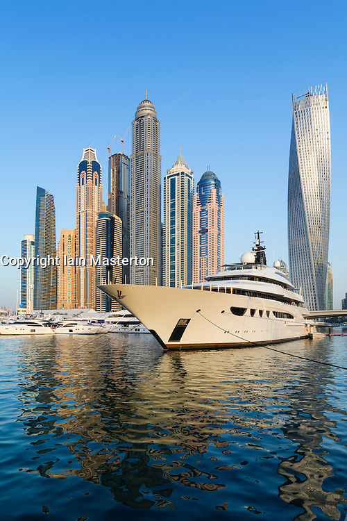 Skyline and yachts during Dubai International Boat Show 2014 United Arab Emirates