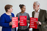Emily Thornberry MP, England footballer Rachel Yankey and Jeremy Corbyn MP show racism the red card at an event at the Emirates stadium, Islington, London, UK. 8th February 2018.(photo by Andrew Aitchison / In pictures via Getty Images)