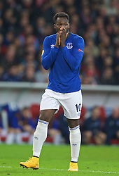 LILLE, FRANCE - Thursday, October 23, 2014: Everton's Romelu Lukaku looks dejected after missing a chance against Lille OSC during the UEFA Europa League Group H match at Stade Pierre-Mauroy. (Pic by David Rawcliffe/Propaganda)