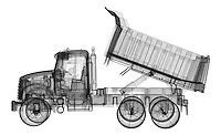 X-ray image of a dump truck (black on white) by Jim Wehtje, specialist in x-ray art and design images.