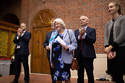 © Licensed to London News Pictures. 06/12/2019. London, UK. Brexit Party MEP Anne Widdecombe prepares to announces her party's defence and veterans policy at a press conference in Westminster . Photo credit: George Cracknell Wright/LNP