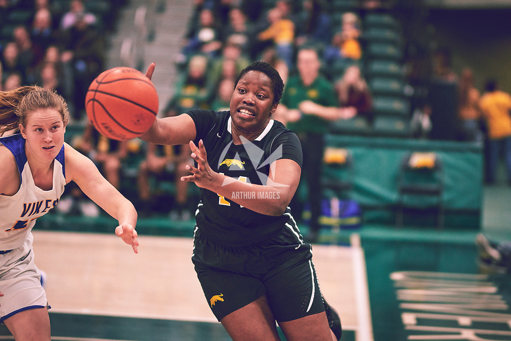 2nd year power forward, Angela Bongomin (14) of the Regina Cougars during the Women's Basketball Home Game on Fri Feb 15 at Centre for Kinesiology,Health and Sport. Credit: Arthur Ward/Arthur Images