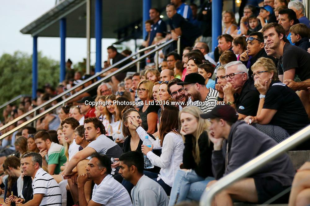 Fans watching the action. Black Sticks Men vs Korea test series, Lloyd Elsmore Hockey Stadium, Auckland, New Zealand. 16 March 2016. Photo: Anthony Au-Yeung / www.photosport.nz