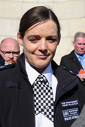 © Licensed to London News Pictures. 02/04/2019. London, UK. Helen Millichap, Haringey Borough Commander Chief Superintendent, makes a media statement outside Edmonton Police Station following five stabbing in Edmonton in the last few days. The latest victim, man in his 30s was stabbed just after 5am this morning on Fairfield Road in Edmonton, North London. He is in a life threatening condition. Photo credit: Dinendra Haria/LNP