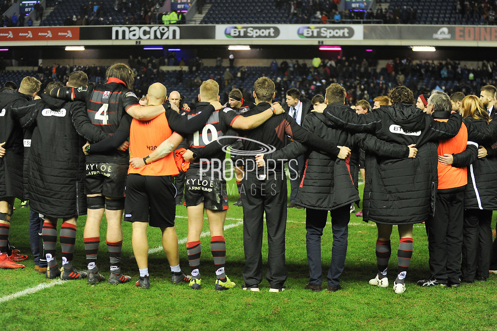 Edinburgh team after winning the Guinness Pro 14 2017_18 match between Edinburgh Rugby and Glasgow Warriors at Murrayfield, Edinburgh, Scotland on 23 December 2017. Photo by Kevin Murray.