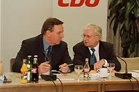 09.01.1999, Deutschland/K&ouml;nigswinter:<br /> Volker R&uuml;he, CDU Bundesvorstand, und Rudolf Seiters, CDU Bundestagsvizepr&auml;sident, zu Beginn der Klausurtagung des CDU-Bundesvorstandes, Arbeitnehmerzentrum, K&ouml;nigswinter<br /> IMAGE: 19990108-02/01-11<br /> KEYWORDS: Volker Ruehe