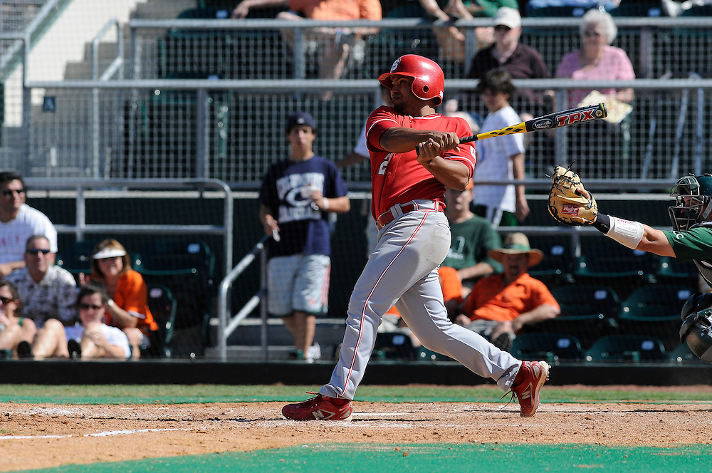 March 8, 2009: Devon Cartwright of the North Carolina State Wolfpack in action during the NCAA baseball game between the Miami Hurricanes and the North Carolina State Wolfpack. The 'Canes defeated the Wolfpack 9-7.