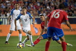 September 1, 2017 - Harrison, New Jersey, U.S - USMNT midfielder CHRISTIAN PULISIC (10) dribbles the ball past Costa Rica midfielder DAVID GUZMçN (20) while Costa Rica defender CRISTIAN GAMBOA (16) and USMNT defender GEOFF CAMERON (20) look on during a World Cup qualifier match at Red Bull arena in Harrison, NJ.  Costa Rica defeats USA 2 to 0. (Credit Image: © Mark Smith via ZUMA Wire)