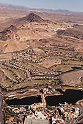 Aerial of the Ritz Carlton Lake Las Vegas casino and resort in Las Vegas, NV.
