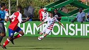 Team USA forward Federico Oliva (18) passes the ball during a CONCACAF boys under-15 championship soccer game, Sunday, Aug. 4, 2019, in Bradenton, Fla. The USA defeated Haiti 2-0 (Kim Hukari/Image of Sport)