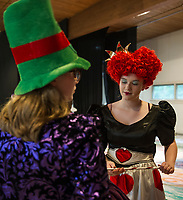 The Mad Hatter (Grace Denney) and Queen of Hearts (Jacqueline Nash) at dress rehearsal with SKYT's (Streetcar Kids Youth Theater) Alice in Wonderland.  (Karen Bobotas/for the Laconia Daily Sun)