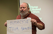 Gilbert Moore gives his pitch at Startup Weekend Athens at the Ohio University Innovation Center on March 18, 2016. Taylor came in second overall.