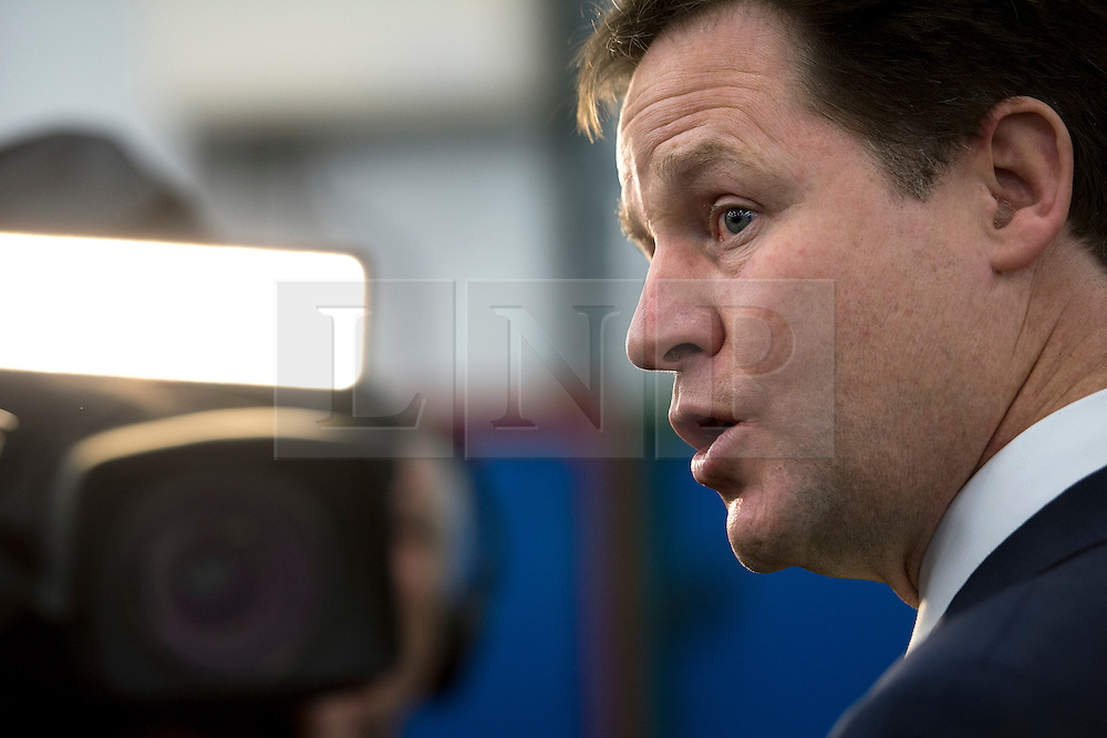 © London News Pictures. 11/02/2013 . Eastleigh, UK.  Leader of the Liberal Democrat Party, NICK CLEGG speaking to the media during a visit to Eastleigh College in Eastleigh, Hampshire with the Liberal Democrat part candidate for the Eastleigh by-election MIKE THORNTON, on February 11, 2013. The by-election was called when the former MP for Eastleigh, Chris Hune, resigned after admitting perverting the course of justice. Photo credit : Ben Cawthra/LNP