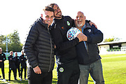 MOM Forest Green Rovers Gavin Gunning(16) with match ball sponsor KB Coaches during the EFL Sky Bet League 2 match between Forest Green Rovers and Exeter City at the New Lawn, Forest Green, United Kingdom on 4 May 2019.