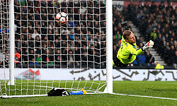 Kasper Schmeichel of Leicester City is beaten by a Darren Bent of Derby County header - Mandatory by-line: Robbie Stephenson/JMP - 27/01/2017 - FOOTBALL - iPro Stadium - Derby, England - Derby County v Leicester City - Emirates FA Cup fourth round