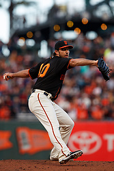 SAN FRANCISCO, CA - SEPTEMBER 15: Madison Bumgarner #40 of the San Francisco Giants pitches against the Colorado Rockies during the second inning at AT&T Park on September 15, 2018 in San Francisco, California. The San Francisco Giants defeated the Colorado Rockies 3-0. (Photo by Jason O. Watson/Getty Images) *** Local Caption *** Madison Bumgarner