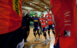 Vlado Petkovic, Matej Vidic, Daniel Lewis, Ales Fabjan and Alen Sket celebrate after the volleyball match between ACH Volley Bled and UKO Kropa at final of Slovenian National Championships 2011, on April 27, 2011 in Arena SGTS Radovljica, Slovenia. ACH Volley defeated Kropa 3-0 and became Slovenian National Champion 2011. (Photo By Vid Ponikvar / Sportida.com)