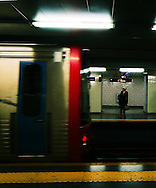 Woman at subway station at Lisbon