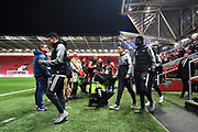 Jesse Lingard (14) of Manchester United, Ander Herrera (21) of Manchester United and Matteo Darmian (36) of Manchester United come out to look at the pitch on arrival before the EFL Cup match between Bristol City and Manchester United at Ashton Gate, Bristol, England on 20 December 2017. Photo by Graham Hunt.