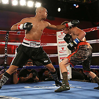 Joshua Santos (L) punches Ricky Tomlinson during a Telemundo Boxeo boxing match at the A La Carte Pavilion on Friday,  March 13, 2015 in Tampa, Florida.  Santos won the bout after Tomlinson's corner stopped the fight in the first round. (AP Photo/Alex Menendez)