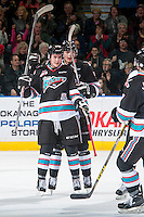 KELOWNA, CANADA - DECEMBER 4: Cole Linaker #26 of Kelowna Rockets celebrates his second goal of the game against the Medicine Hat Tigers on December 4, 2015 at Prospera Place in Kelowna, British Columbia, Canada.  (Photo by Marissa Baecker/Shoot the Breeze)  *** Local Caption *** Cole Linaker;
