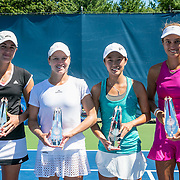 August 23, 2016, New Haven, Connecticut: <br /> Runners up Ashley Weinhold and Caitlin Whoriskey and winners Danielle Lao and Jacqueline Cako pose for a photograph with the trophies the US Open National Playoffs women's doubles finals on Day 5 of the 2016 Connecticut Open at the Yale University Tennis Center on Tuesday, August  23, 2016 in New Haven, Connecticut. <br /> (Photo by Billie Weiss/Connecticut Open)