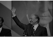 Fianna Fáil Ard Fheis.  (R97)..1989..25.02.1989..02.25.1989..25th February 1989..The Fianna Fáil Ard Fheis was held today at the RDS Main Hall, Ballsbridge, Dublin. An Taoiseach, Charles Haughey TD,gave the keynote speech of the event...An Taoiseach, Charles Haughey TD accepts the plaudits from the floor at the Fianna Fáil Ard Fheis in the RDS, Dublin.