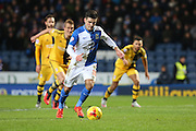 Ben Marshall of Blackburn Rovers takes the spot kick that leads to the first goal of the game during the Sky Bet Championship match between Blackburn Rovers and Fulham at Ewood Park, Blackburn, England on 16 February 2016. Photo by Simon Brady.