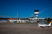 Nederland, Drenthe, Eelde, 08-09-2009; Groningen Airport Eelde, verkeerstoren..Control tower Eelde airfield.luchtfoto (toeslag); aerial photo (additional fee required); .foto Siebe Swart / photo Siebe Swart