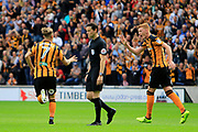 Hull City midfielder Kamil Grosicki (7) scores a goal to make the score 2-1 and celebrates during the EFL Sky Bet Championship match between Hull City and Burton Albion at the KCOM Stadium, Kingston upon Hull, England on 12 August 2017. Photo by Richard Holmes.