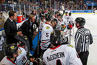 KELOWNA, BC - OCTOBER 20:  Linesman Tim Plamondon and referee Jeff Ingram stand on the ice at the Portland Winterhawks' bench and speak to head coach Mike Johnston and associate coach Kyle Gustafson about a call against the Kelowna Rockets at Prospera Place on October 20, 2017 in Kelowna, Canada. (Photo by Marissa Baecker/Getty Images)
