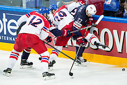 Jan Kolar of Czech Republic vs Trevor Lewis of USA during Ice Hockey match between USA and Czech Republic at Third place game of 2015 IIHF World Championship, on May 17, 2015 in O2 Arena, Prague, Czech Republic. Photo by Vid Ponikvar / Sportida
