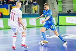 Serhiy Zhurba of Ukraine during futsal match between Ukraine and Spain in Quaterfinals of UEFA Futsal EURO 2018, on February 6, 2018 in Arena Stozice, Ljubljana, Slovenia. Photo by Ziga Zupan / Sportida