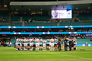 SYDNEY, NSW - MARCH 23: Both teams in a huddle for a minute silence to remember the victims of Christchurch and Manu Sutherland at round 6 of Super Rugby between NSW Waratahs and Crusaders on March 23, 2019 at The Sydney Cricket Ground, NSW. (Photo by Speed Media/Icon Sportswire)