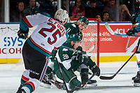 KELOWNA, CANADA - SEPTEMBER 29: Cal Foote #25 of the Kelowna Rockets shoots the puck past Reece Vitelli #26 of the Everett Silvertips and scores a first period goal on September 29, 2017 at Prospera Place in Kelowna, British Columbia, Canada.  (Photo by Marissa Baecker/Shoot the Breeze)  *** Local Caption ***