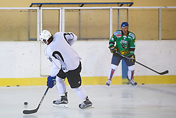 Anze Kopitar, NHL star and player of Los Angeles Kings and Jakob Milovanovic during practice session and press conference before Kopitar's departure to USA, on August 28, 2014 in Ledna dvorana Bled, Slovenia. Photo by Matic Klansek Velej  / Sportida.com