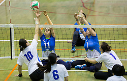 Xu Jie of China vs Lena Gabrscek of Slovenia and Jana Ferjan of Slovenia during friendly Sitting Volleyball match between National teams of Slovenia and China, on October 22, 2017 in Sempeter pri Zalcu, Slovenia. (Photo by Vid Ponikvar / Sportida)