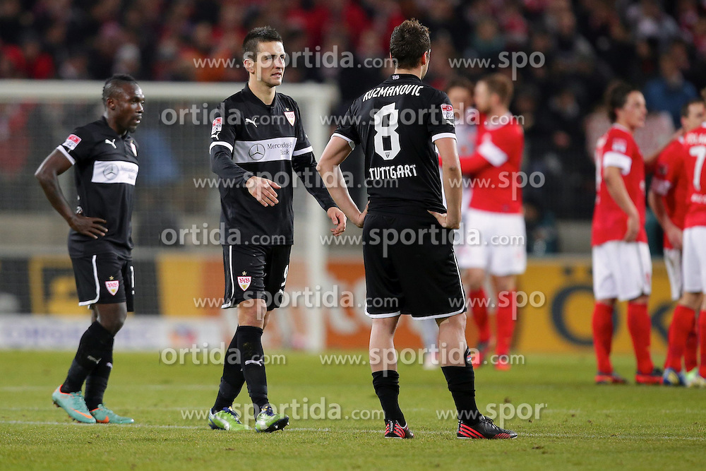 15.12.2012, Coface Arena, Mainz, GER, 1. FBL, 1. FSV Mainz 05 vs VfB Stuttgart, 17. Runde, im Bild Arthur BOKA (VfB Stuttgart - 15) - Vedad IBISEVIC (VfB Stuttgart - 9) - Zdravko KUZMANOVIC (VfB Stuttgart - 8) ist enttäuscht, ist frustriert, Frust, zeigt Emotionen // during the German Bundesliga 17th round match between 1. FSV Mainz 05 and VfB Stuttgart at the Coface Arena, Mainz, Germany on 2012/12/15. EXPA Pictures © 2012, PhotoCredit: EXPA/ Eibner/ Gerry Schmit..***** ATTENTION - OUT OF GER *****