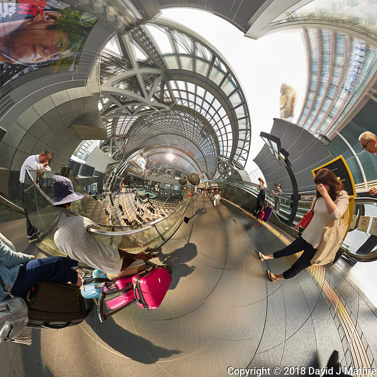 Kyoto Train Station Level Two -- Little Planet View (90 degree right). Composite of 44 images taken with a Leica CL camera and 18 mm f/2.8 lens (ISO 400, 18 mm, f/5.6, 1/60 sec). Raw images processed with Capture One Pro and AutoPano Giga Pro.