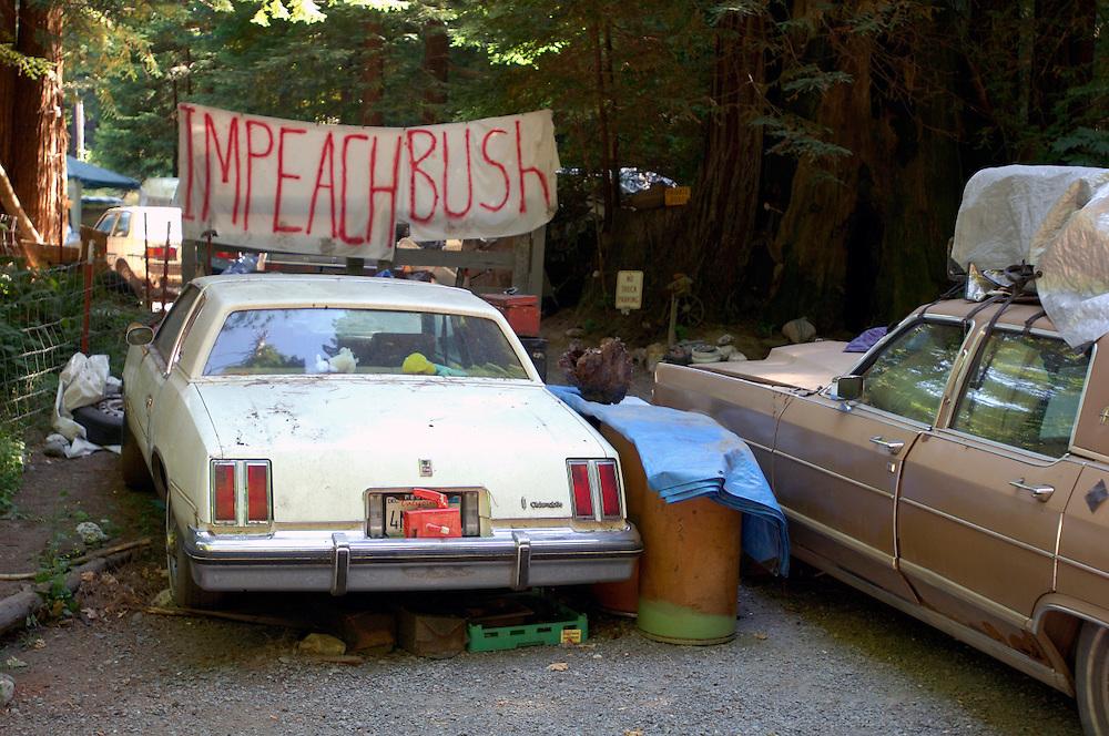 Impeach Bush banner, near Pepperwood, California, United States of America