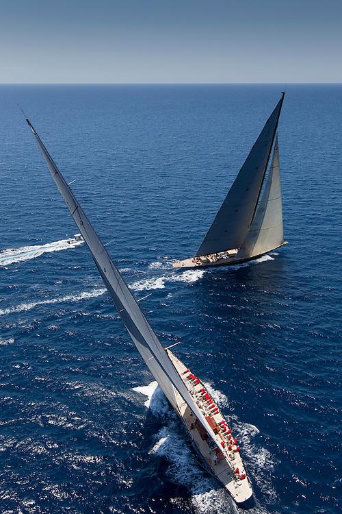 SPAIN, Palma. 21st June 2013. Superyacht Cup. J Class. Race three, coastal race. Rainbow crosses behind Lionheart.