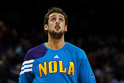 Mar 28, 2012; Oakland, CA, USA; New Orleans Hornets shooting guard Marco Belinelli (8) warms up before the game against the Golden State Warriors at Oracle Arena. New Orleans defeated Golden State 102-87. Mandatory Credit: Jason O. Watson-US PRESSWIRE