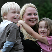 Millenium twins Jay (left) and Jordan Doherty from Letham near Forfar who are about to celebrate their fifth birthday, pictured with mum Zenna.<br /><br />Picture by Graeme Hart.<br />Copyright Perthshire Picture Agency<br />Tel: 01738 623350  Mobile: 07990 594431