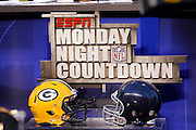 Helmets sit on the sit of ESPN Monday Night Countdown for the broadcast of the Chicago Bears NFL regular season week 3 football game against the Green Bay Packers on September 27, 2010 in Chicago, Illinois. The Bears won the game 20-17. ©Paul Anthony Spinelli